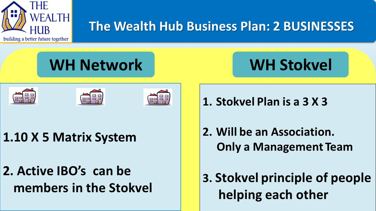 The Wealth Hub Business Plan: 2 BUSINESSES