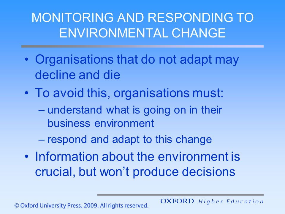 MONITORING AND RESPONDING TO ENVIRONMENTAL CHANGE