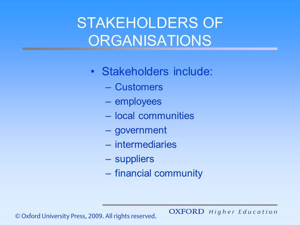 STAKEHOLDERS OF ORGANISATIONS
