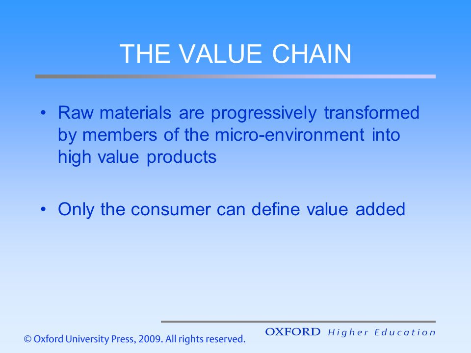 THE VALUE CHAIN Raw materials are progressively transformed by members of the micro-environment into high value products.