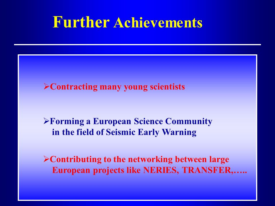 Further Achievements Contracting many young scientists