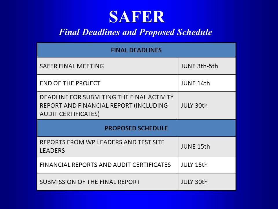 SAFER Final Deadlines and Proposed Schedule FINAL DEADLINES