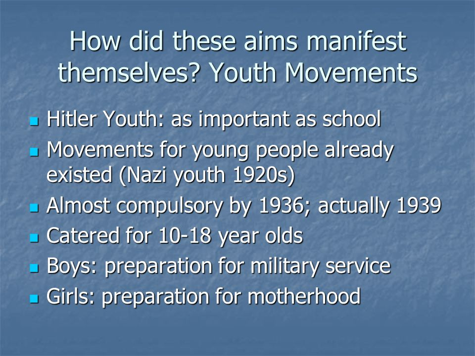 How did these aims manifest themselves Youth Movements