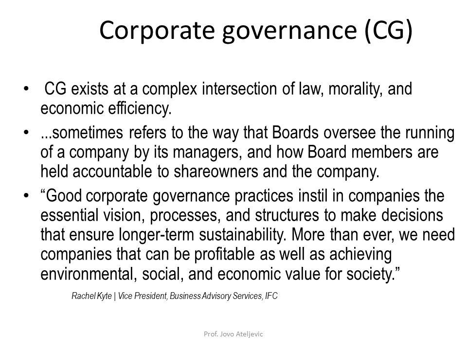 Corporate governance (CG)