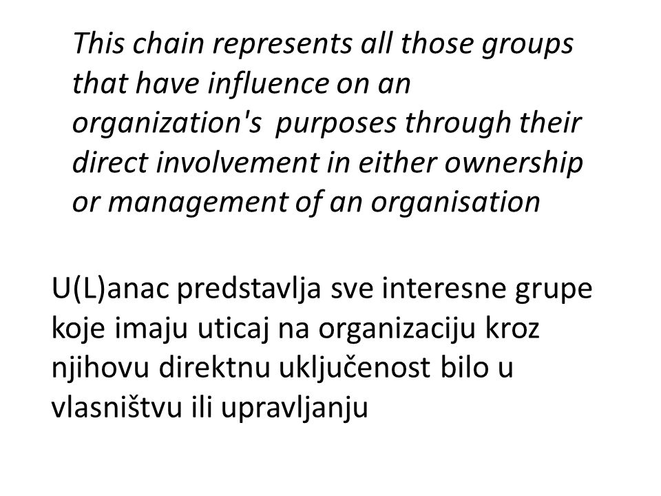This chain represents all those groups that have influence on an organization s purposes through their direct involvement in either ownership or management of an organisation