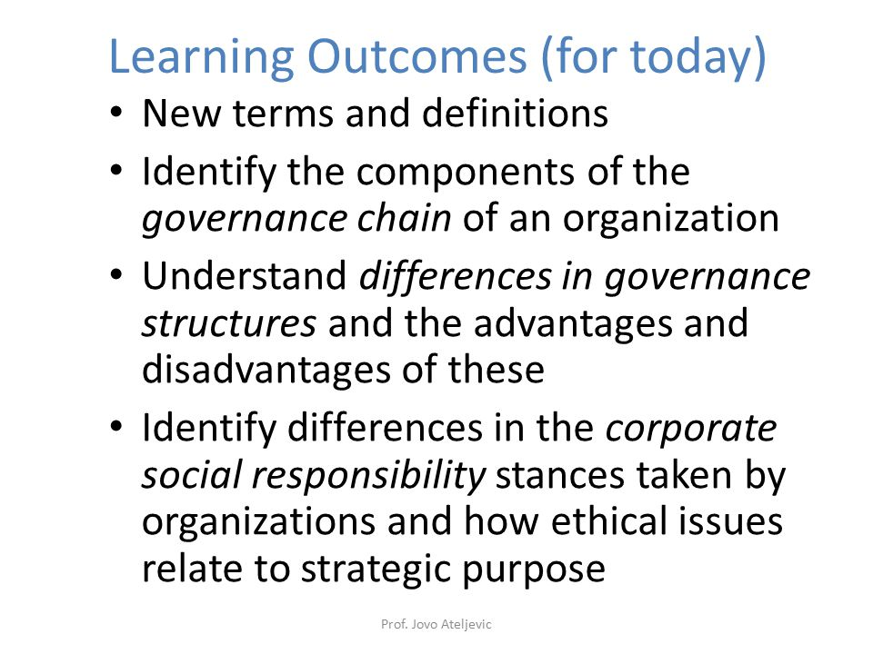Learning Outcomes (for today)