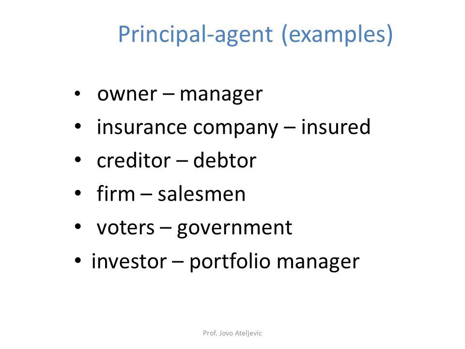 Principal-agent (examples)