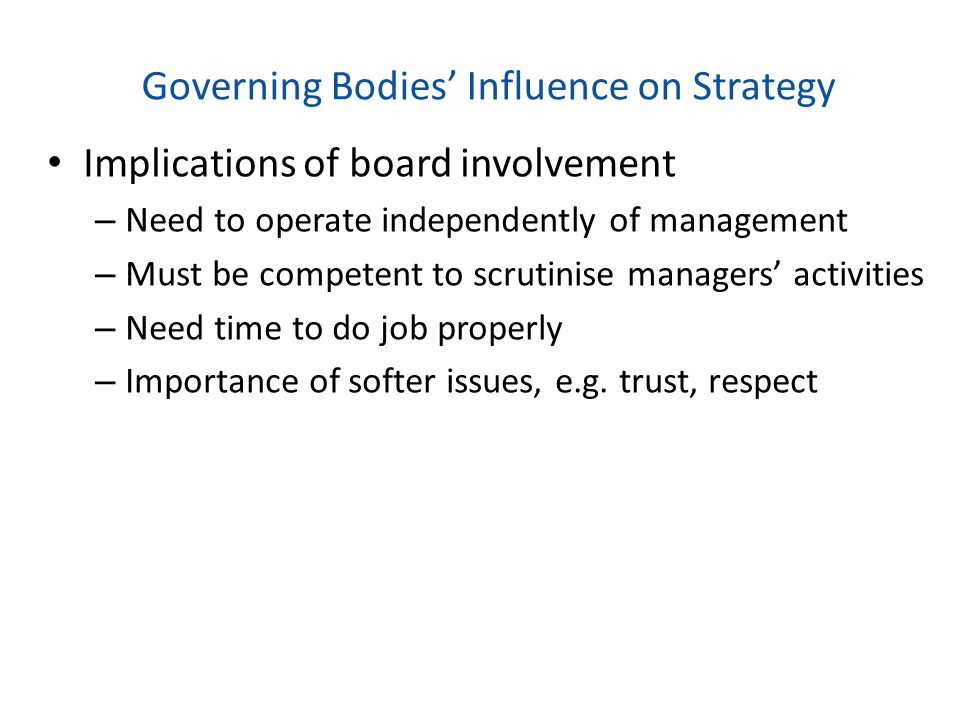 Governing Bodies' Influence on Strategy