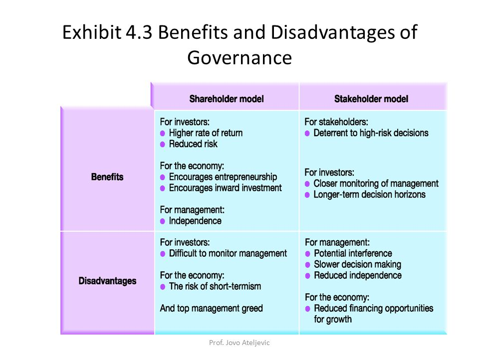 Exhibit 4.3 Benefits and Disadvantages of Governance