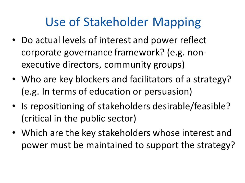 Use of Stakeholder Mapping