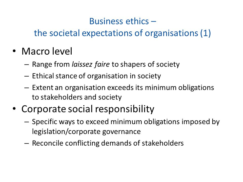Business ethics – the societal expectations of organisations (1)