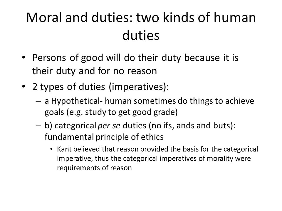 Moral and duties: two kinds of human duties