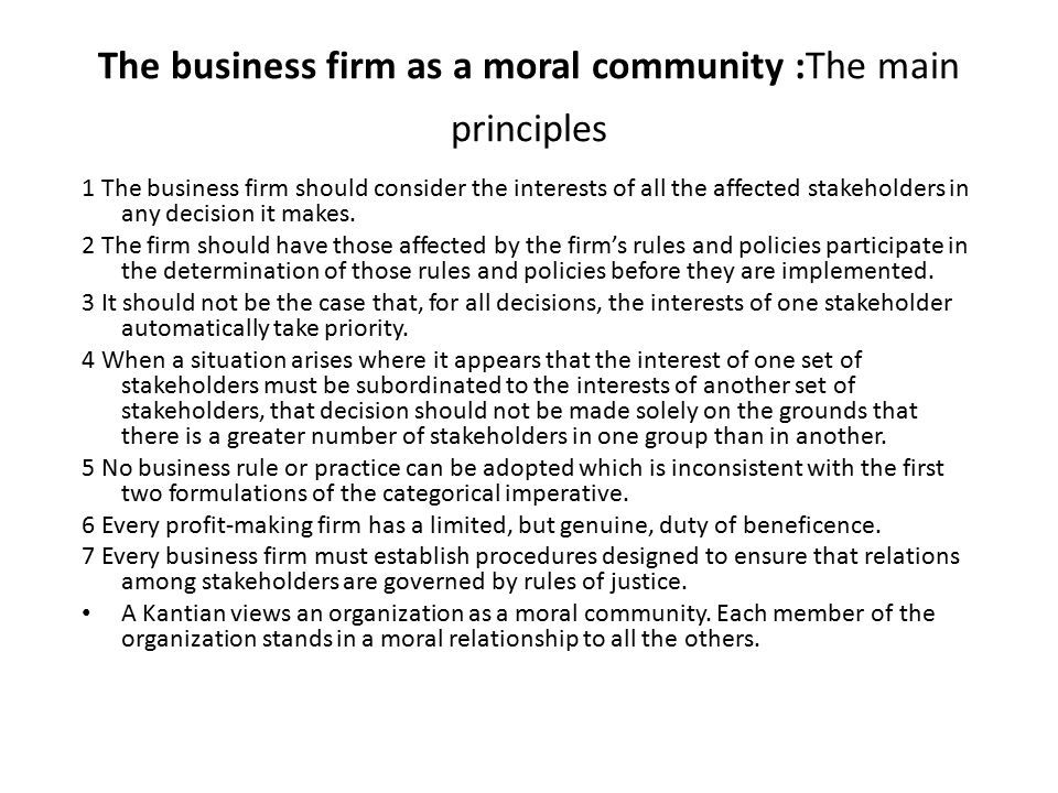 The business firm as a moral community :The main principles