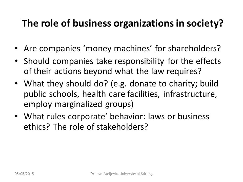 The role of business organizations in society