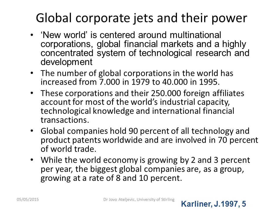 Global corporate jets and their power