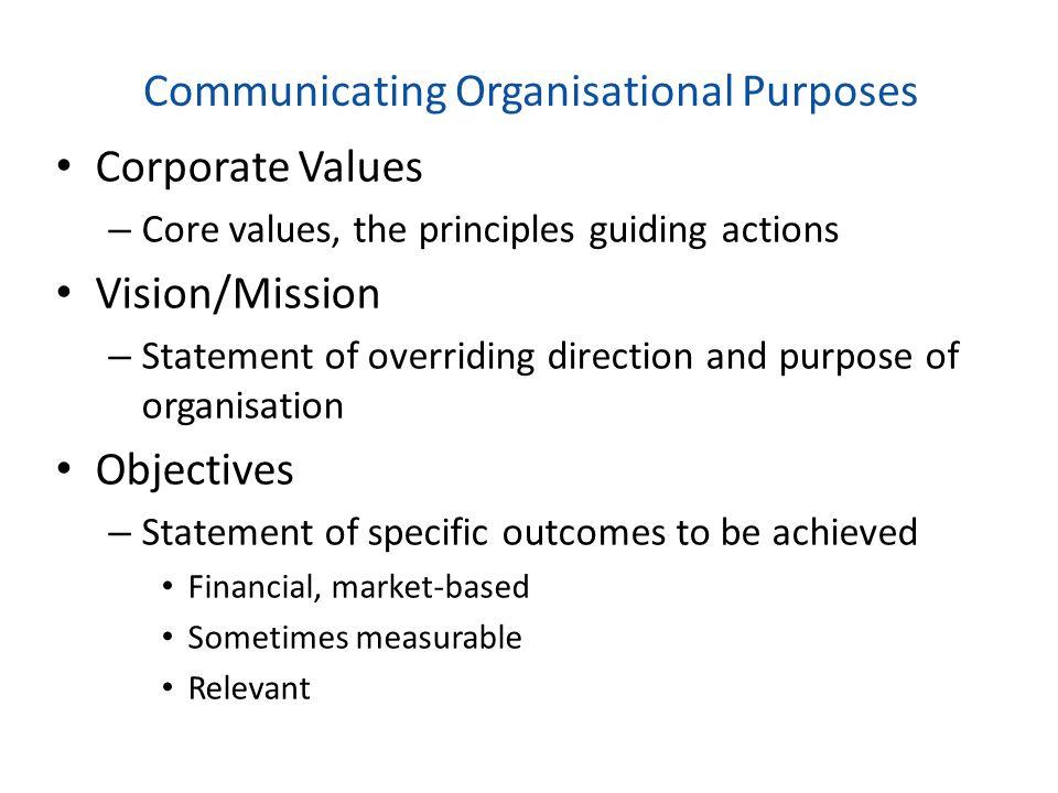 Communicating Organisational Purposes