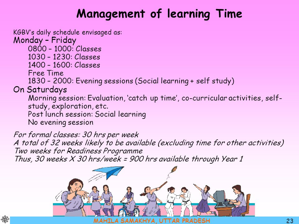 Management of learning Time
