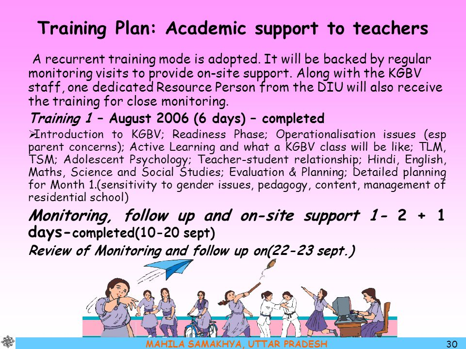 Training Plan: Academic support to teachers
