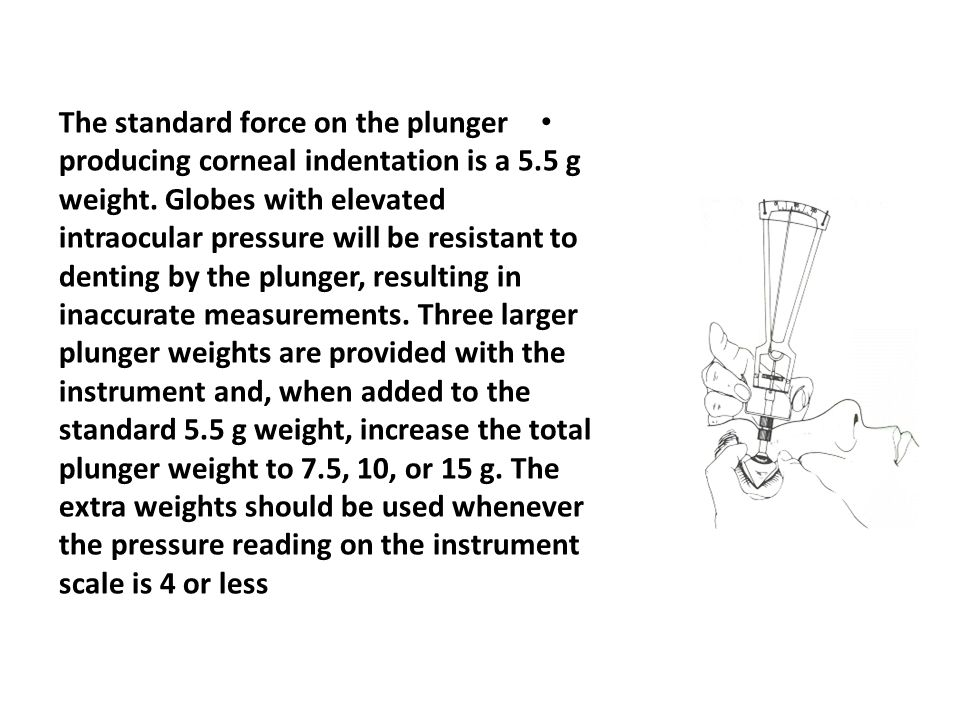 The standard force on the plunger producing corneal indentation is a 5