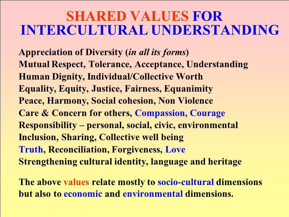 SHARED VALUES FOR INTERCULTURAL UNDERSTANDING