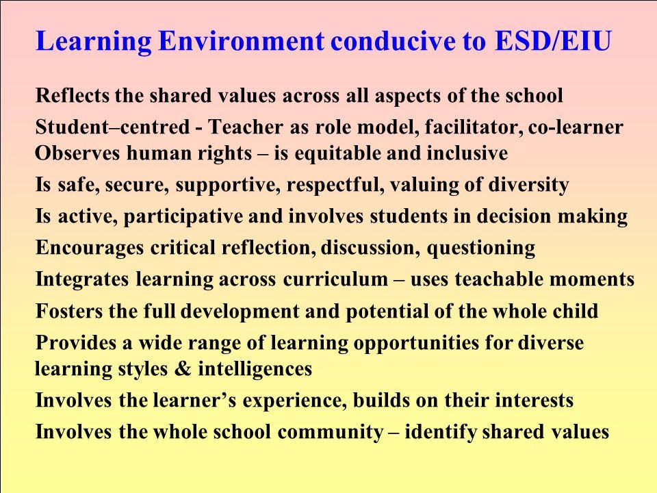 Learning Environment conducive to ESD/EIU