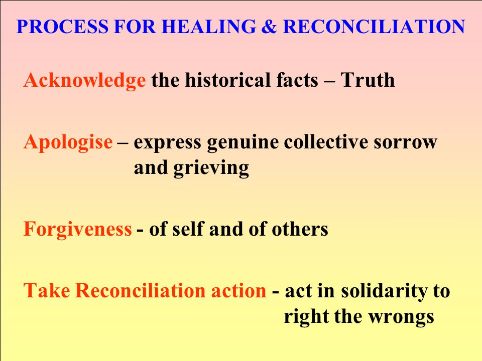 PROCESS FOR HEALING & RECONCILIATION