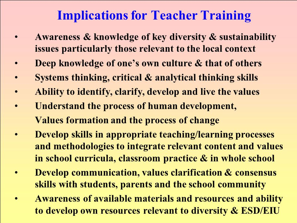 Implications for Teacher Training