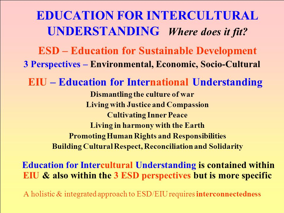 EDUCATION FOR INTERCULTURAL UNDERSTANDING Where does it fit