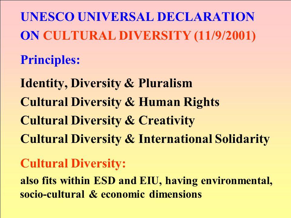 UNESCO UNIVERSAL DECLARATION ON CULTURAL DIVERSITY (11/9/2001)