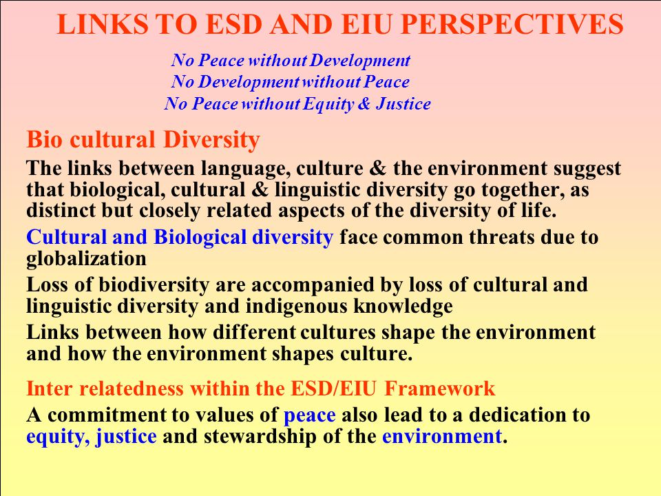 LINKS TO ESD AND EIU PERSPECTIVES
