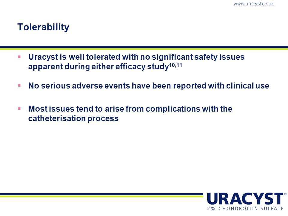 Tolerability Uracyst is well tolerated with no significant safety issues apparent during either efficacy study10,11.