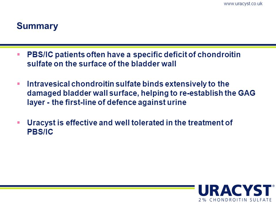 Summary PBS/IC patients often have a specific deficit of chondroitin sulfate on the surface of the bladder wall.