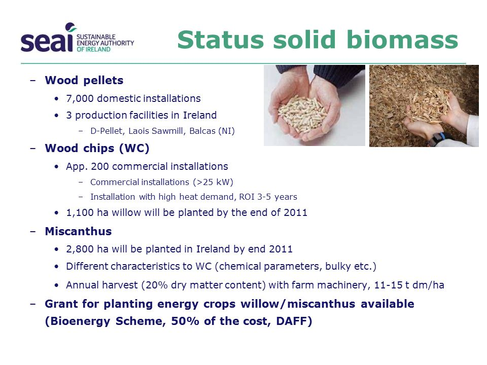 Status solid biomass Wood pellets Wood chips (WC) Miscanthus