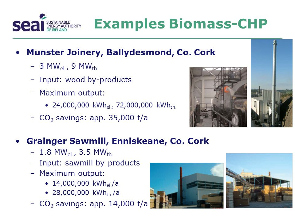 Examples Biomass-CHP Munster Joinery, Ballydesmond, Co. Cork