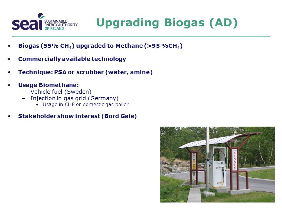 Upgrading Biogas (AD) Biogas (55% CH4) upgraded to Methane (>95 %CH4) Commercially available technology.