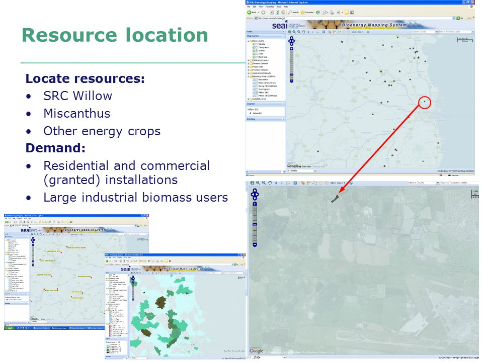 Resource location Locate resources: SRC Willow Miscanthus