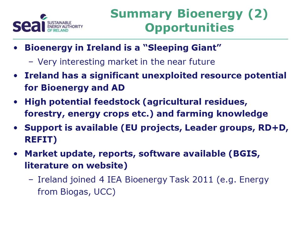 Summary Bioenergy (2) Opportunities