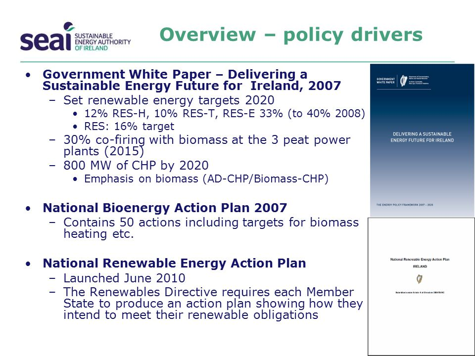 Overview – policy drivers