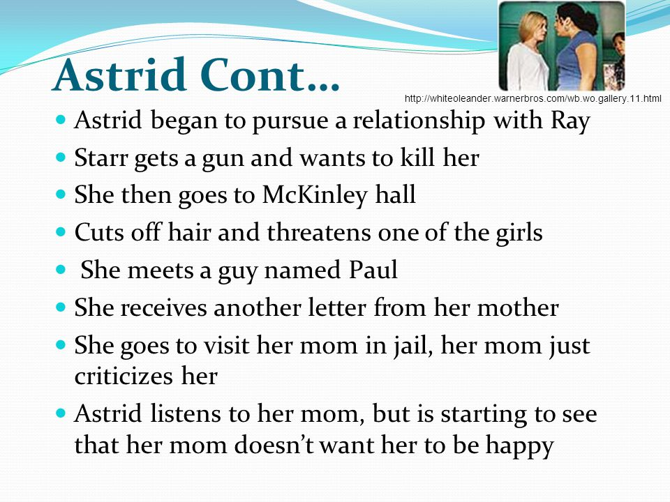 Astrid Cont… Astrid began to pursue a relationship with Ray