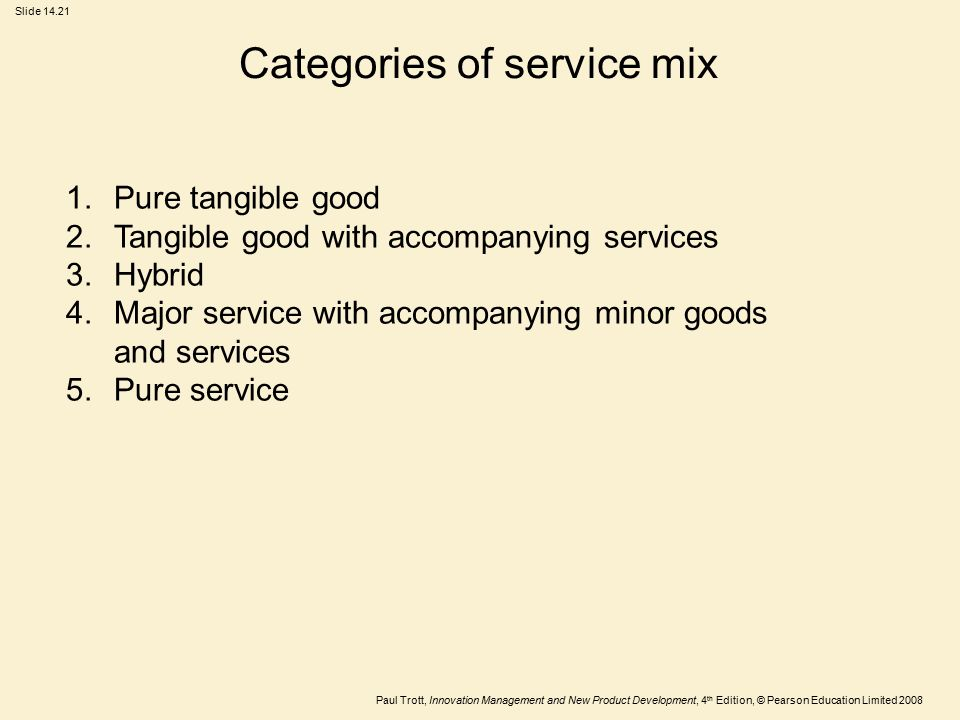 Categories of service mix