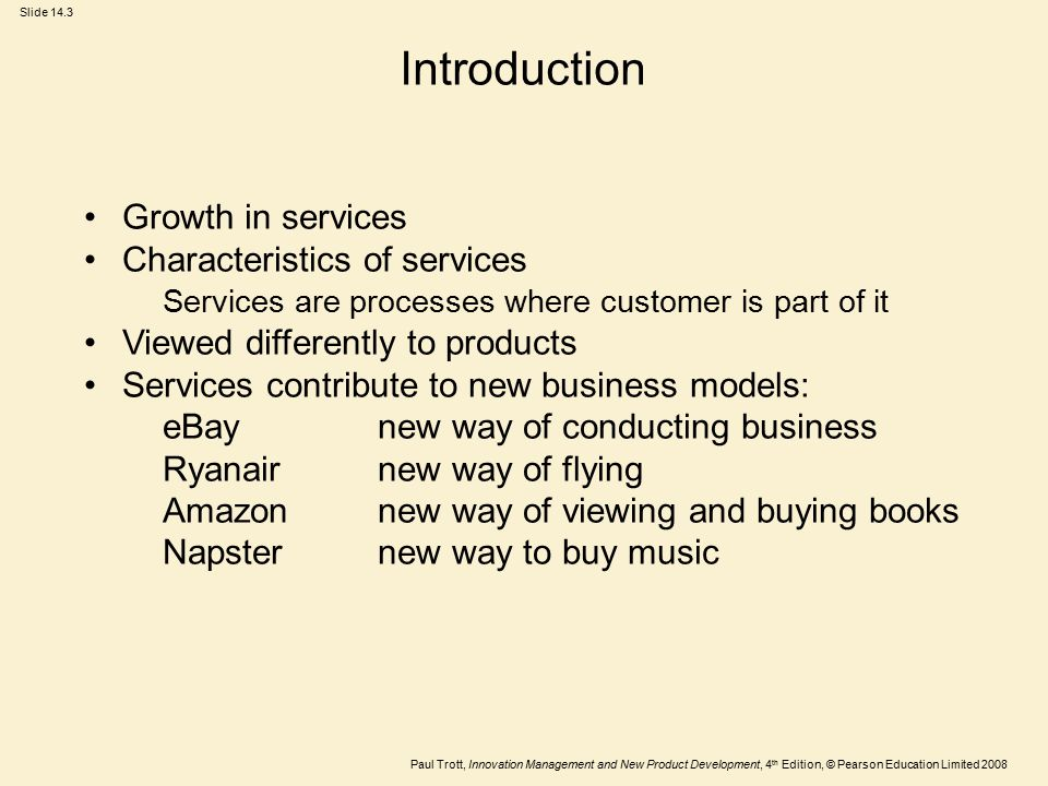 Introduction Growth in services Characteristics of services