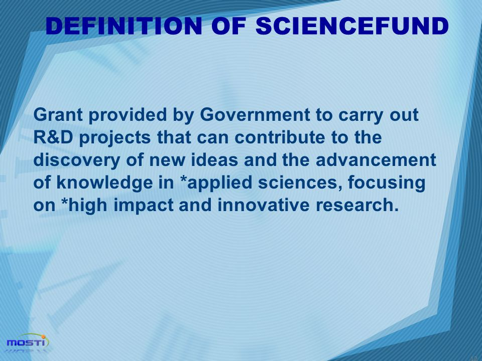 DEFINITION OF SCIENCEFUND