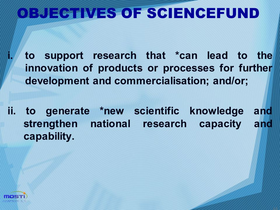 OBJECTIVES OF SCIENCEFUND