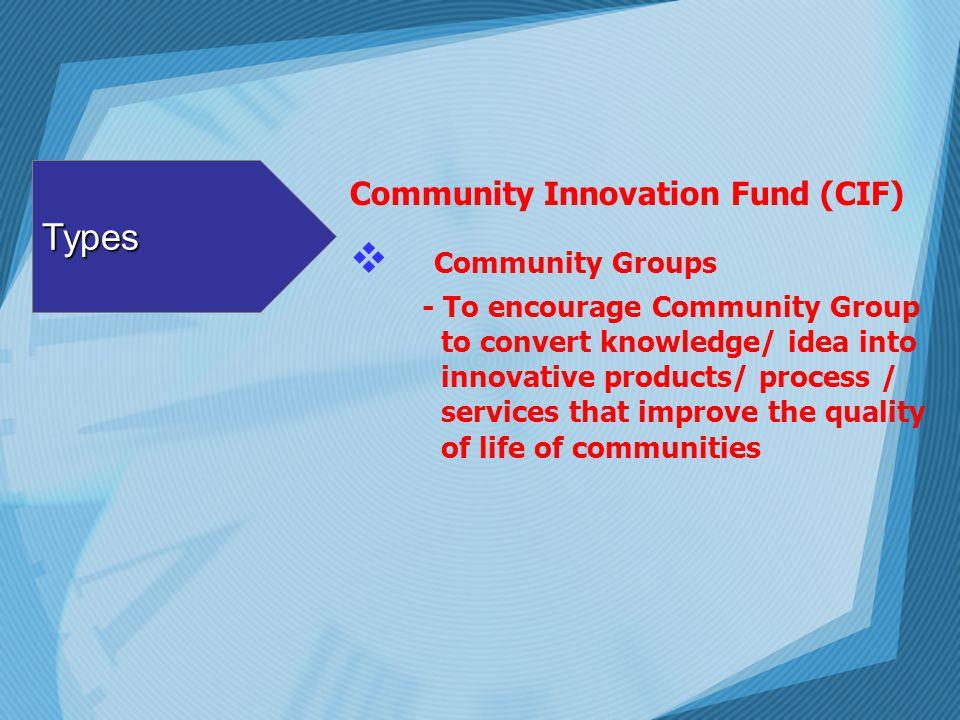 Types Community Groups Community Innovation Fund (CIF)