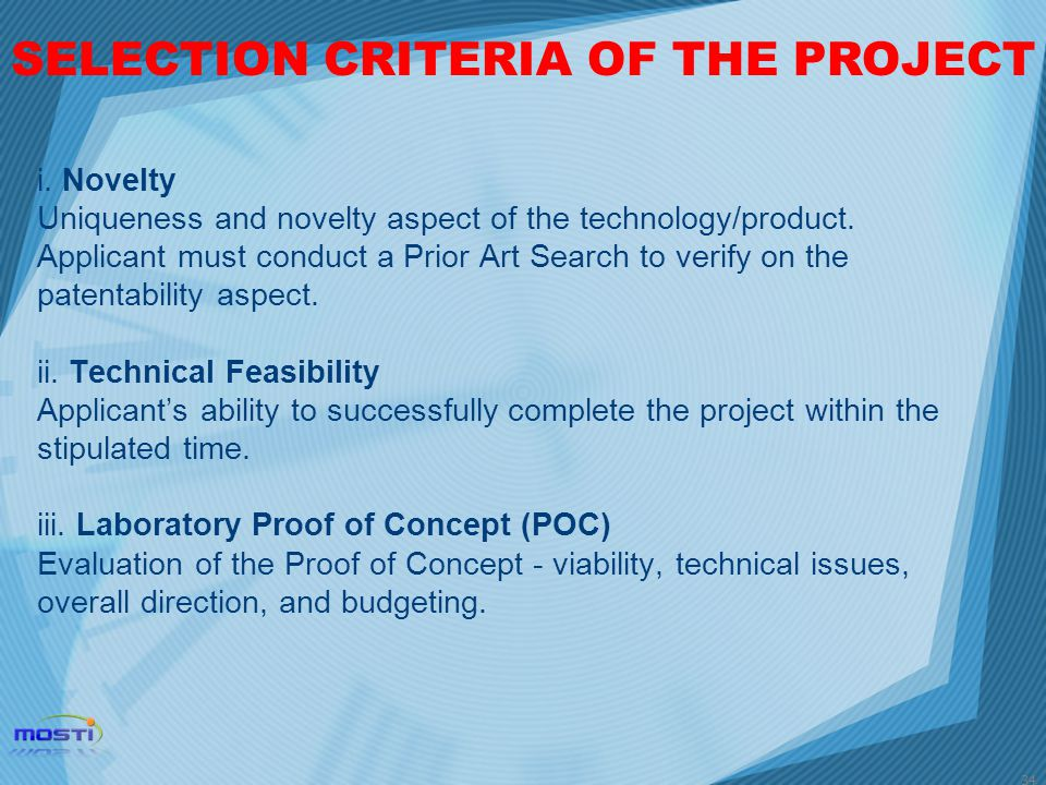 SELECTION CRITERIA OF THE PROJECT