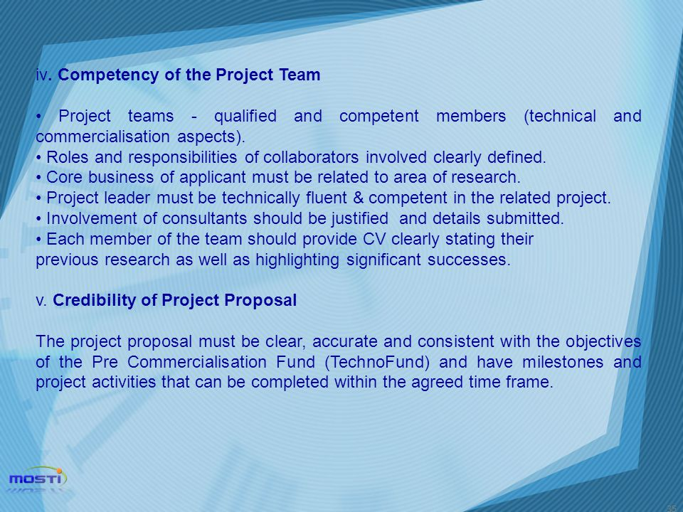 iv. Competency of the Project Team