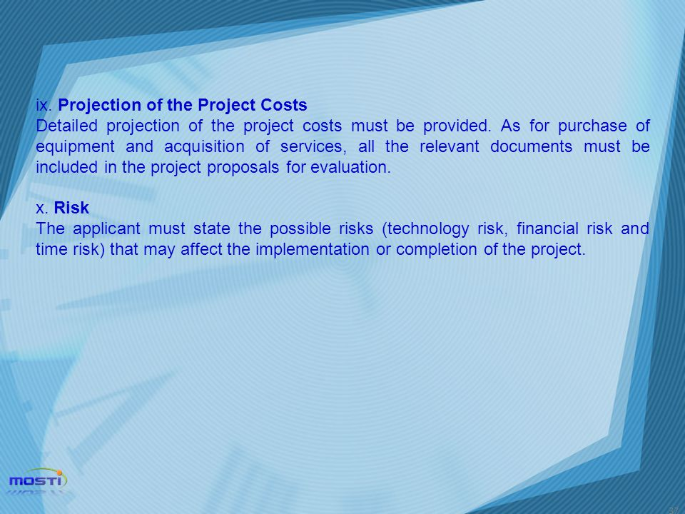 ix. Projection of the Project Costs