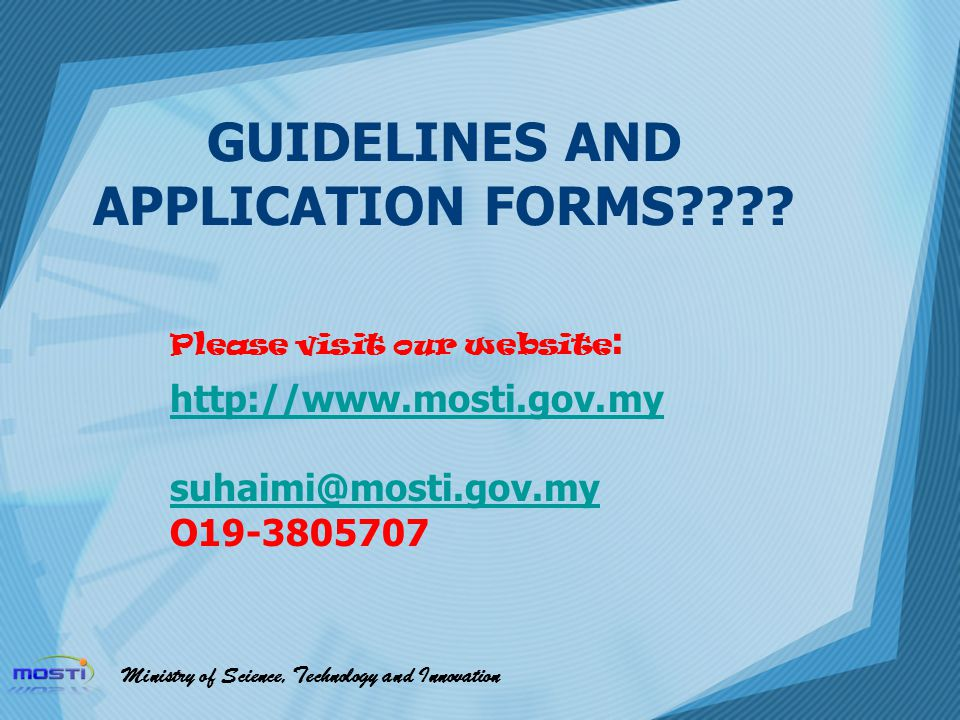 GUIDELINES AND APPLICATION FORMS