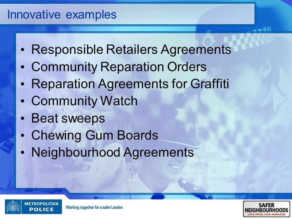 Responsible Retailers Agreements Community Reparation Orders