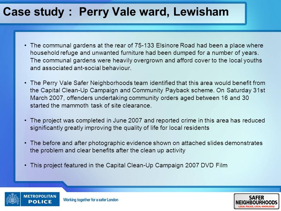 Case study : Perry Vale ward, Lewisham